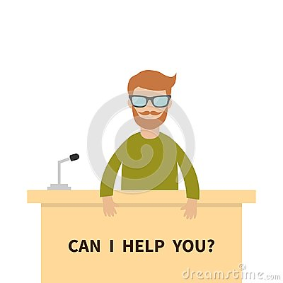 Free Can I Help You. Men Male People Wearing Eyeglasses. Table Information Desk Counter Microphone. Reception Service Info Support. Cut Royalty Free Stock Photo - 102059605