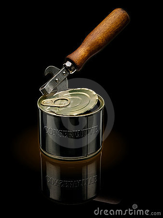 Can opener and tin.