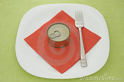 Can on plate