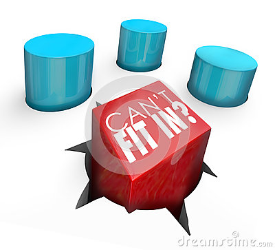 Free Can T Fit In Misfit Square Peg Round Hole Out Of Place Outcast Stock Images - 49852504