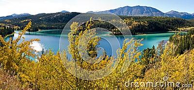 Canada carcross szmaragdowy jeziorny terytorium Yukon