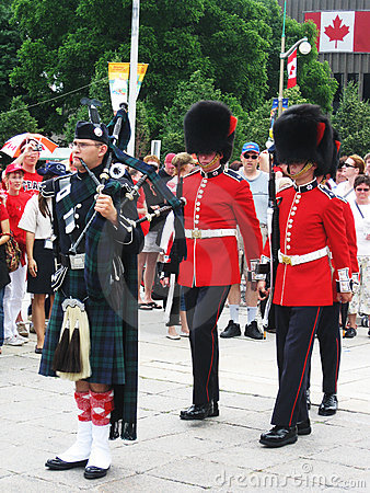 Canada Day Piper and Guards, in Ottawa Editorial Photo
