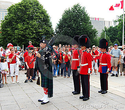 Canada Day Piper and Guards, in Ottawa, Ontario Editorial Stock Photo