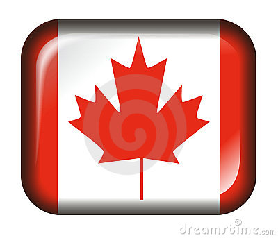 Canada Flag Button 3d effect isolated in white