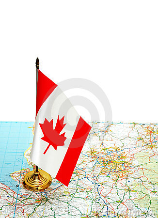 Canada flag on the map