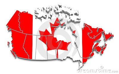 Canada flag map on white isolated