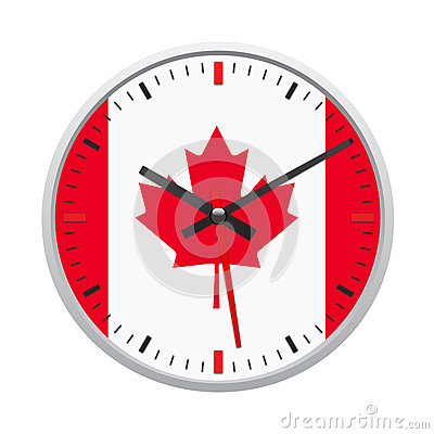 Free Canada Flag On Clock Royalty Free Stock Image - 29536226