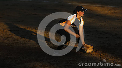 Canada games softball woman player sun spotlight Editorial Image