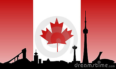 Canada landmarks skyline and flag