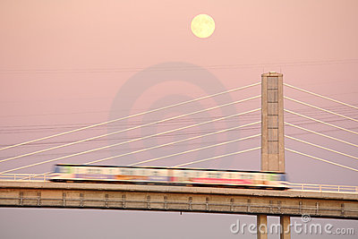 Canada Line Moonrise, Vancouver