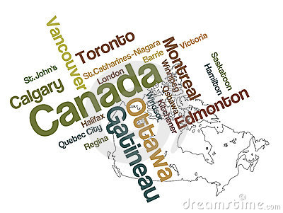 Canada Map And Cities Royalty Free Stock Photos - Image: 15975388