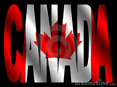 Canada text with Canadian flag