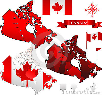 Canada vector map and flag