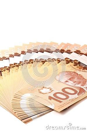 Canadian 100 dollar bills in polymer