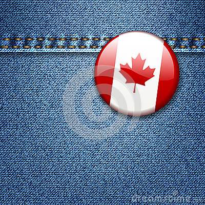 Canadian Flag Badge on Denim Fabric Texture