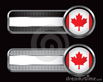 Canadian flag on checkered striped banners
