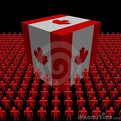 Canadian flag cube surrounded by people