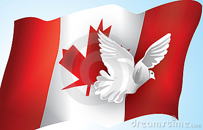 Canadian Flag and a Dove