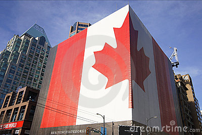 Canadian Flag Graphic Vancouver Editorial Stock Image