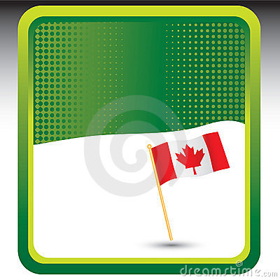 Canadian flag on green halftone template