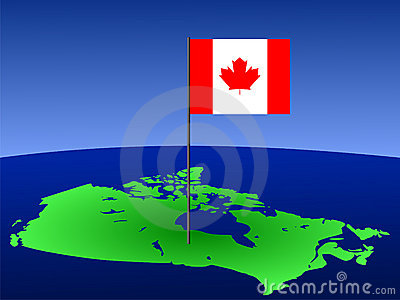 Canadian flag on map
