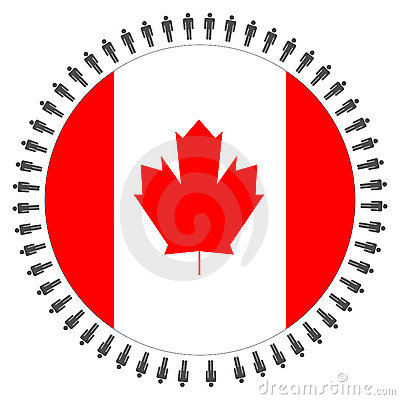 Canadian flag with people