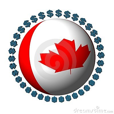 Canadian flag sphere with dollars