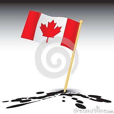 Canadian flag on splattered ground