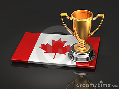 Canadian Flag and Trophy