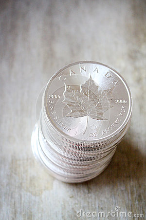Canadian Maple Leaf Silver Coin Stack Stock Photo Image