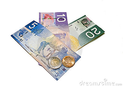 Canadian Money Editorial Stock Photo