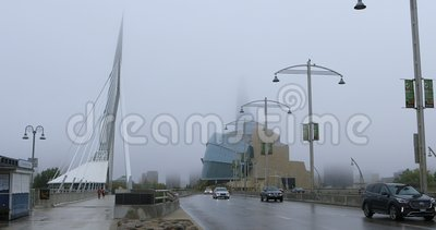Canadian Museum for Human Rights and Provencher Bridge w Kanadzie 4K zbiory