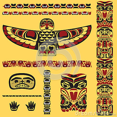 Free Canadian Native Art Elements In Vector Royalty Free Stock Photos - 28160368
