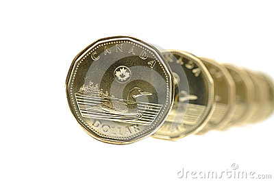 Canadian One Dollar Coin Editorial Stock Photo