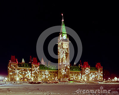 Canadian Parliament Lit for Christmas