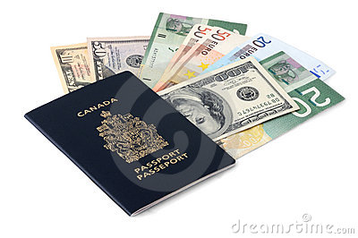 Canadian passport and paper money