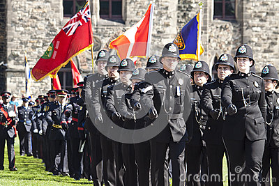 Canadian police officers at parliament hill Editorial Photo