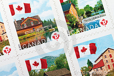Canadian Postage stamps Editorial Stock Image