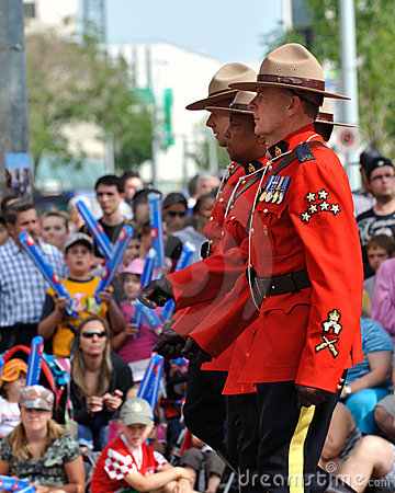 Canadian RCMP at Edmonton s Capital Ex parade Editorial Photography