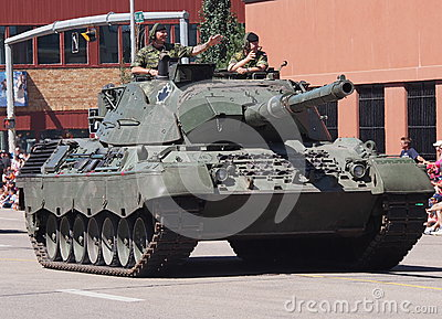 Canadian Soldiers Driving Tank In Parade Editorial Photo