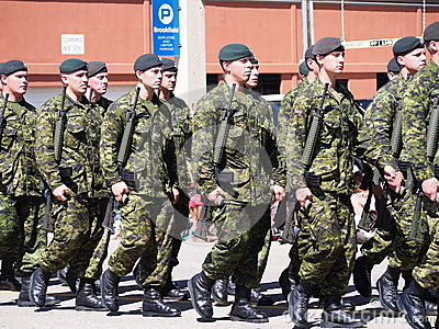Canadian Soldiers Marching In Parade Editorial Stock Image