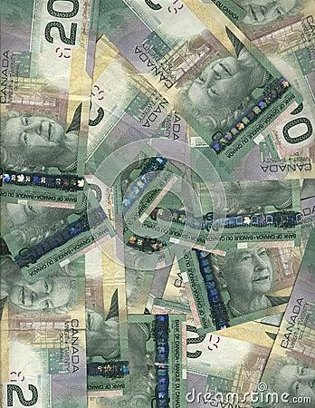 Canadian twenty dollar bills
