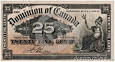 Canadian Twenty-Five Cents - Vintage Paper Money