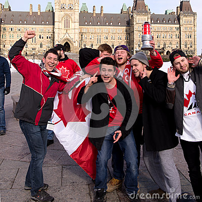 Canadians celebrate hockey gold Editorial Stock Image