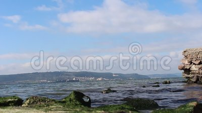 Sea and calm skies. Canakkale throat and Geliboluda sea and calm skies stock footage