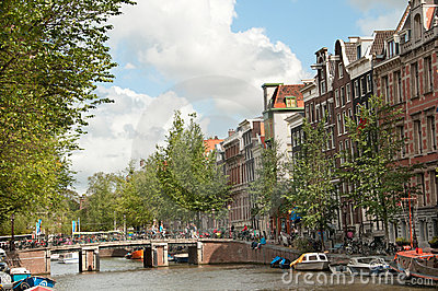 Canal in Amsterdam Editorial Image