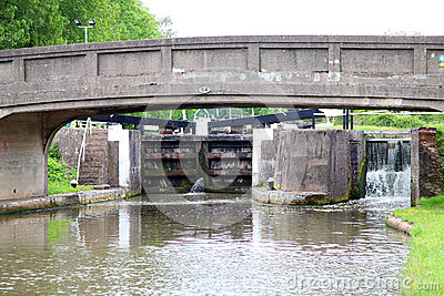 Canal lock and bridge in united kingdom