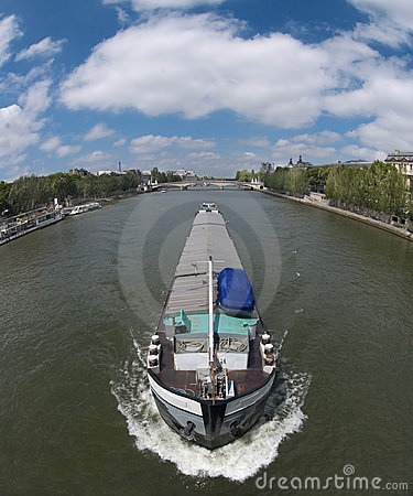 Canal boat in the Seine