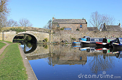 Canal boats in Basin at Galgate, Lancashire.