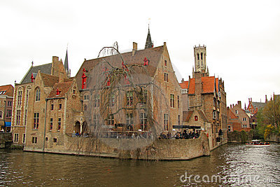 Canal in Bruges (Belgium) Editorial Photography